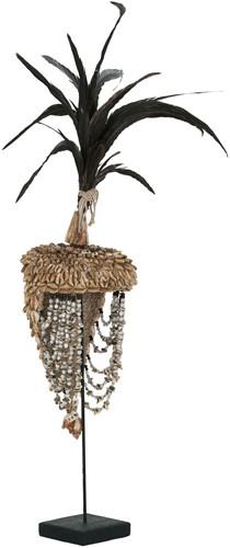 MUST Living Balinese helm met schelpen en veren
